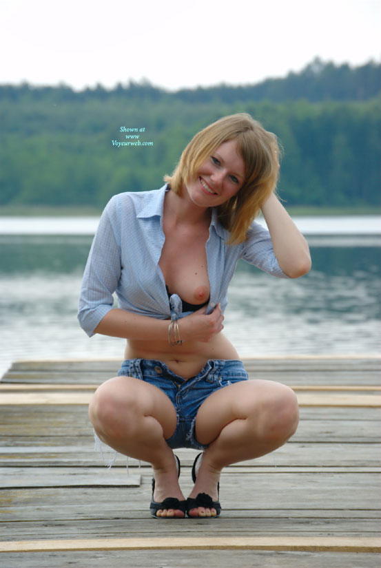 Sexy Wife Kneeling With Open Top - Blonde Hair, Blue Eyes, Flashing, Heels , Strawberry Blond Flash, Sexy Wife, Small Breast, Redish Blond Hair, Really Cute Piece, Smiling Into Camera