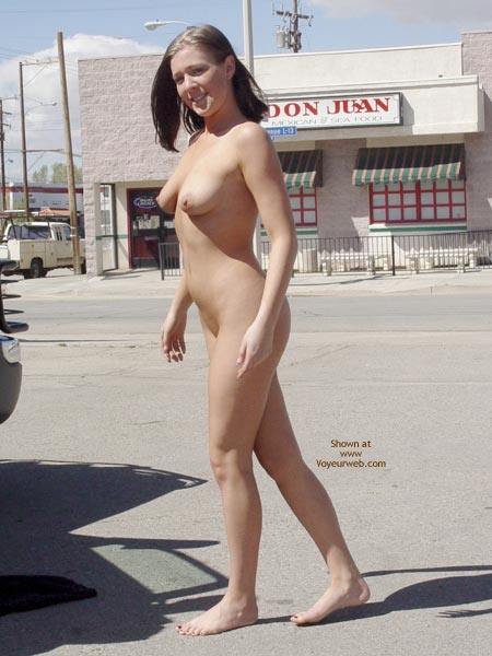Pic #1 - Nude In Public - Brunette Hair, Exposed In Public, Nude In Public, Nude Outdoors , Nude In Public, Nude On The Streets, Exposed, Outdoor Flash, Streaking Outdoors, Bare Feet, Public Nudity, Brunette