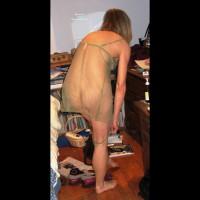 Nude Wife on heels:Alana's Green Negligee