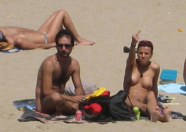 Pic #1 - Beach Voyeur - Topless Beach, Beach Tits, Beach Voyeur, Naked Girl, Nude Amateur , Girl Giving, Extended Middle Finger, Nude Beach, Throwing The Finger