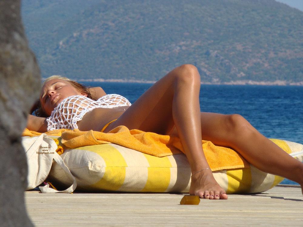 Pic #1 - Beach Voyeur - Long Legs, Beach Voyeur , Perfect Breasts, Ankle Bracelet, Barefoot, Laid Back Legs, Nice Feet, Big Boobs, White Mesh, Painted Toenails, Long Toes, Creamy Tanned Skin, Puppies In The Net
