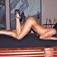 Nude Wife on heels:*SA Pool Table Fun