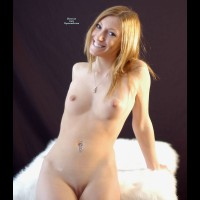 Sexy Nude Wife Sitting On Fur - Blonde Hair, Small Tits, Bald Pussy, Naked Girl, Nude Amateur, Nude Wife