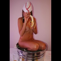 Naked Girl Kneeling In A Bucket - Brunette Hair, Tan Lines, Naked Girl