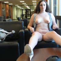 Exhibitionist - Brown Hair, Exhibitionist, Landing Strip, Long Hair, Long Legs, Nude In Public, Naked Girl, Nude Amateur , Legs Apart, Nude Friend, Sitting, Public Nudity, Legs On Table, Nude In Library, Fully Exposed, Sitting In Chair, Naked In Public, Shirt Open