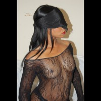 Black Girl Blind Folded In See Through Top - Black Hair, Brunette Hair, Erect Nipples, Hard Nipple, Long Hair, Small Tits, Topless