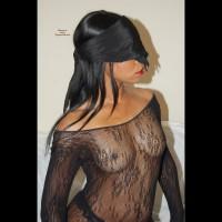 Black Girl Blind Folded In See Through Top - Black Hair, Brunette Hair, Erect Nipples, Hard Nipple, Long Hair, Small Tits, Topless