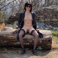 Nude Wife on heels:*SP In Black Jacket