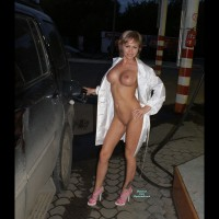 Nude Me on heels: At A Gas Station