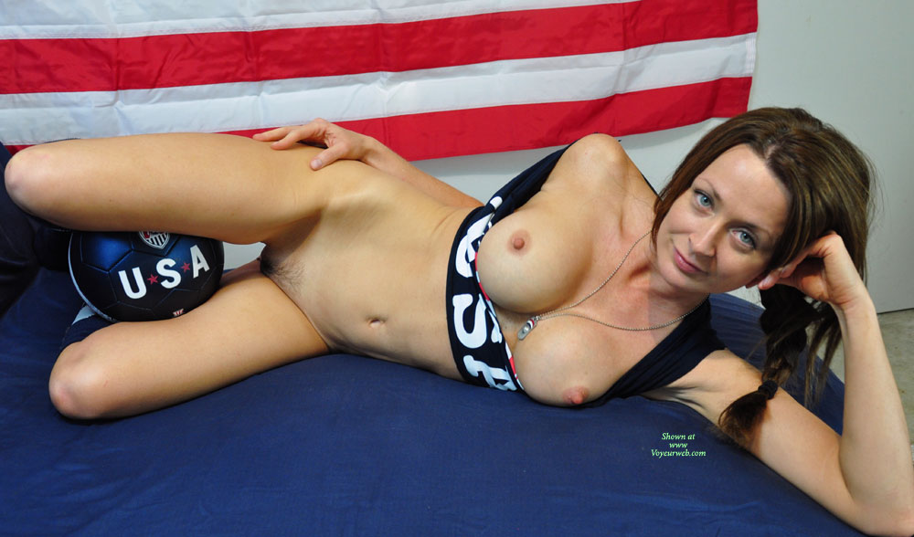 Pic #1 - All American Team Girl - Topless , Lying On Side, Footballers Support Girl, Usa Babes Are Hot, Laying, Dreamy Eyes, Totally Exposed, Slender Legs, Pig Tail, Nice Nipples, Topless Me, Original Soccer Mom, Team Supporter Warms Game Ball, Ball Between Thighs, Footballer Looses Shorts In Ball Battle