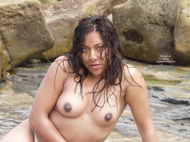 Pic #1 - Dark Nipples - Dark Nipples, Topless, Wet , Dark Nipples, Posing Topless, Outside Topless, Very Dark Areolas, Sitting On Rocks, Wet Hair, Wet Skin, Leaning On One Arm