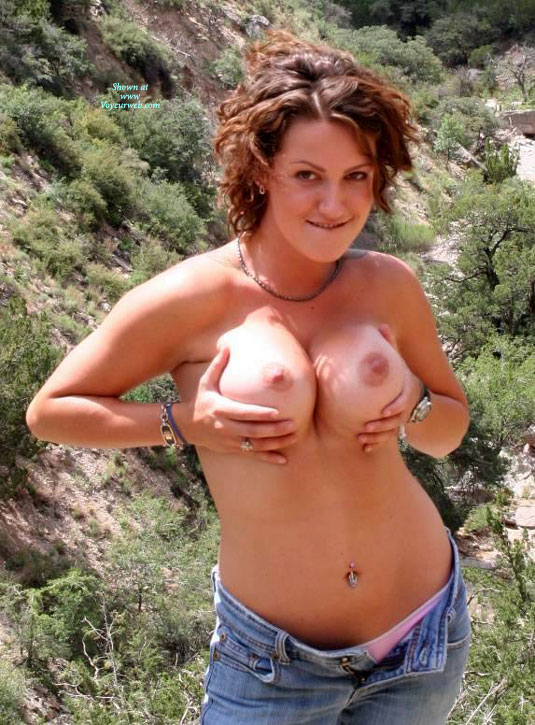 Brunette Holding Her Big Tits - Big Tits, Brunette Hair, Hard Nipple, Large Breasts, Topless, Nude Amateur, Nude Wife , Squeezing Her Fun Bags, Topless In The Country, Nude Friend's Wife, Topless In Jeans, Blue Jeans, Standing Topless Outside