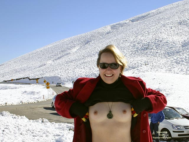 Pic #1 - Topless On Snow - Gloves, Hard Nipple, Perky Tits, Small Nipples , Topless On Snow, Tits, Public Tit Flash, Hard Nipples, Small Nipples, Pale Skinned Breasts, Open Red Coat, Perky Breasts, Coloured Gloves, Black Sweater