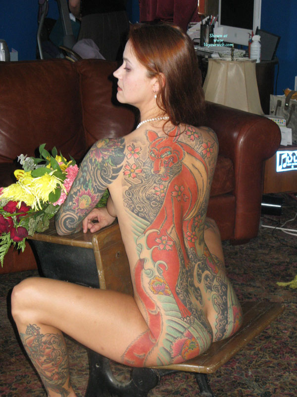 Pic #1 - Tattooed Nude Brunette - Brown Hair, Brunette Hair, Long Hair, Red Hair, Naked Girl, Nude Amateur , Body Tattoos, Red Haired Fox, Beautiful Tattooed Body, Sitting On Antique School Desk, Long Reddish Brown Hair, Tattoo