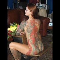 Tattooed Nude Brunette - Brown Hair, Brunette Hair, Long Hair, Red Hair, Naked Girl, Nude Amateur
