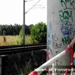 Topless Me:Public Train Fun