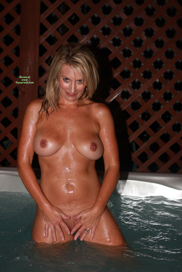 Naked hot tub