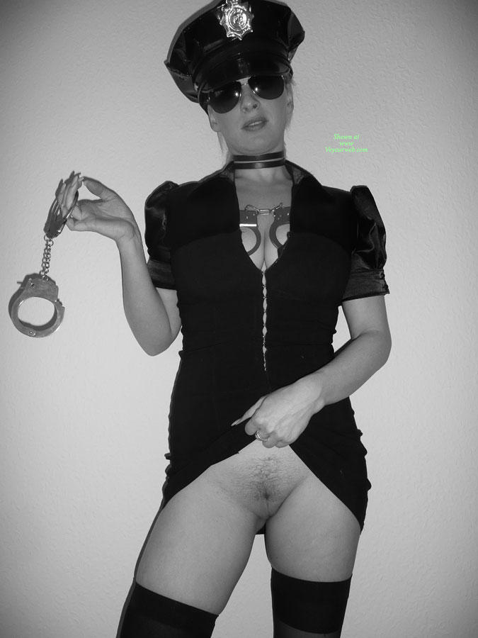 00001FB7 nude wife in police uniform stock photo : very sexy semi nude police women with handcuffs isolated on ...