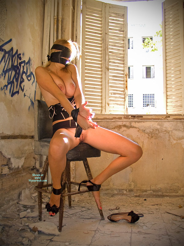 Pic #1 - Bound And Blindfolded Nude Girl - Big Tits, Naked Girl, Nude Amateur , Tied And Blindfolded, In Front Of Window, Abandoned Building, Sitting On A Stool, Bottomless Girlfriend, Blind Folded, Bondage, Bound To Stool
