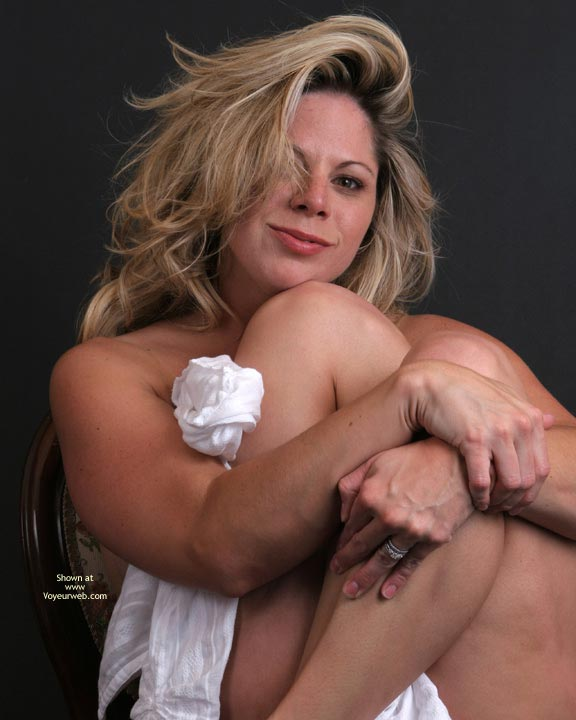 Pic #1 - Bed Head , Bed Head, Blonde Milf, Blonde Babe, Clutching A White Wrap, Just Woke Up, Devilish Grin