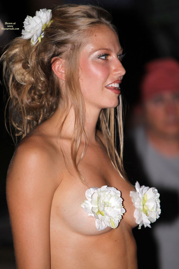 Event Voyeur - Blonde Hair, Brown Hair, Exhibitionist, Long Hair, Nude In Public, Naked Girl, Nude Amateur , Blooming Tits, Standing Up, Mouth Open, Standing Smiling, Flowers On Titis, Natural Breasts, Hair Up, Flower In Hair, Pastie Flowers, Blonde And Blossoms, Sultry Look