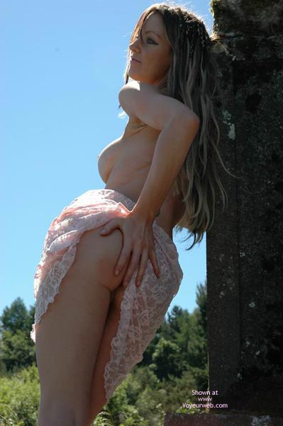 Pic #1 - Long Blond Hair - In The Woods, Long Hair , Long Blond Hair, Raising Dress, Pink Lace Dress, In The Woods, Hand On Rear, Back Lighting