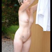 Nude Wife on heels:Lulu 52 Gardening