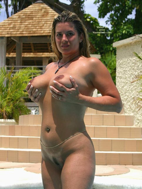 Big tits blonde pool