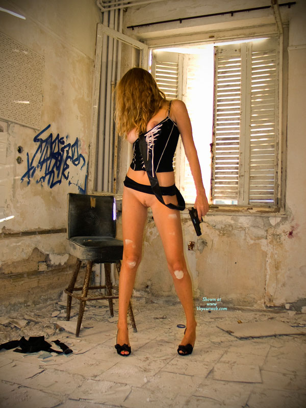 Pic #1 - Fetish Girl Bottomless With Gun - Big Tits, Bottomless, Brunette Hair, Firm Tits, Heels, Landing Strip, Spread Legs, Naked Girl, Nude Amateur, Sexy Figure, Sexy Legs , Holding Gun, Black And Pink Short Top, Standing Legs Spread, Open Toed Heels, Dirty Knees, Slim Body, Nude Girlfriend On Heels, Black Lace High Heels, Big Firm Tits, Laced Up Tank Top, Abandoned Building, Black Belt