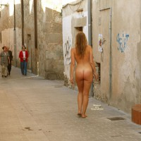 Buck Naked In An Alley - Blonde Hair, Exhibitionist, Long Hair, Nude In Public, Naked Girl, Nude Amateur, Sexy Ass