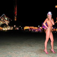 Naked In Public - Exhibitionist, Long Legs, Small Breasts, Small Tits, Naked Girl, Naked Wife, Nude Amateur , Public Nudity, Shaply Legs, Tight Body, Neon Lights, Pink Heels And Hat, Nude Girlfriend On Heels, Amusement Park, Hand On Hip, Naked With A Watch On