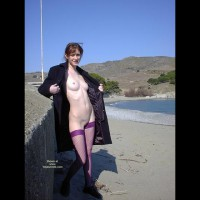 Tiiiina Exhib Purple Pantyhose - Brunette Hair, Flashing, Nude Outdoors, Shaved, Small Breasts, Small Nipples, Stockings