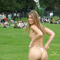 Topless At The Park - Long Hair, Thong