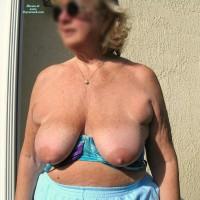 Topless Wife:Grammy Sunning