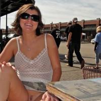 Exhibitionist Wife - Dark Hair, Exhibitionist, Landing Strip, Spread Legs, Sunglasses
