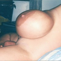 Topless Wife:Big Brown Areolas
