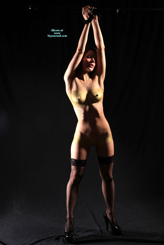 Pic #1 - Bondage - Heels, Stockings, Naked Girl, Nude Amateur , Painted Girl, Slender Body, Nude Friend, Golden Slave, Perfectly Shaped Titties, Tied Hands, Gold Pussy, Painted Boobs, Girl Tied Up, Suspended Nude With Stockings, Golden Tits