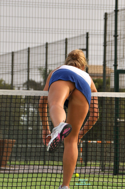 Pic #1 - Tennis Upskirt - Upskirt , Tennis Outfit, Tanned Under The Skirt, White Sneakers, Tennis, Running Shoes, Me Upskirt, One Foot In The Air, Athletic Upskirt, Short Skirt, Blue Tennis Skirt