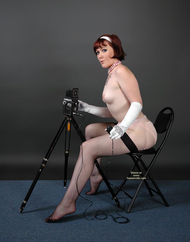 Pic #1 - Photo Studio - Red Hair, Small Tits, Stockings , Photo Studio, Classic Pin Up To Be With Tripod, Sexy Photographer, Small Tits, Black Stockings, Retro Style, Red Hair