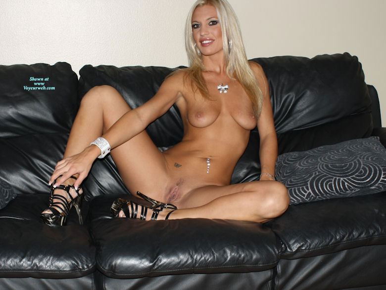 Nude Girl On Heels - Blonde Hair, Long Hair, Looking At The Camera, Naked Girl, Nude Amateur , Bleach Blonde Babe, Spread Open, Sitting On Sofa, Black High Heeled Sandals, Naked On Couch, Open Pussy Lips, Butterfly Tatoo, Showing Front, Pink Pussy