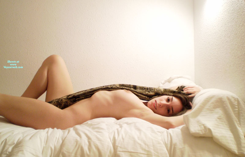 Nude Girlfriend - Brunette Hair, Looking At The Camera, Naked Girl, Nude Amateur, Sexy Girlfriend , Naked On Bed, Knee Bent Upward, Morning Stretch, Side View, Lying In Bed, Hands Over Head, Lying On Back