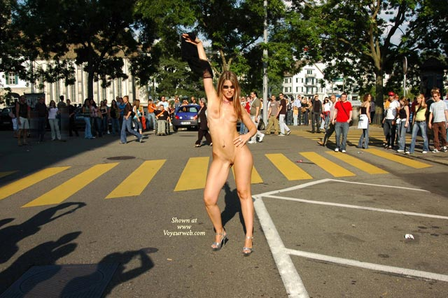 Pic #1 - Nude On Public Street - Exhibitionist, Nude In Public , Nude On Public Street, Naked In Public, Nude In Street, Naked In Street, Naked In Front Of Lots Of People, Heels Only, Exhibitionist