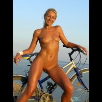 Nude Girl Standing With Bike - Blonde Hair, Shaved Pussy, Trimmed Pussy, Bald Pussy, Hairless Pussy, Looking At The Camera, Naked Girl, Nude Amateur, Sexy Face, Sexy Figure