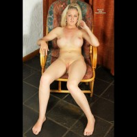 Nude In Bentwood Chair - Blonde Hair, Shaved Pussy, Looking At The Camera, Naked Girl, Nude Amateur