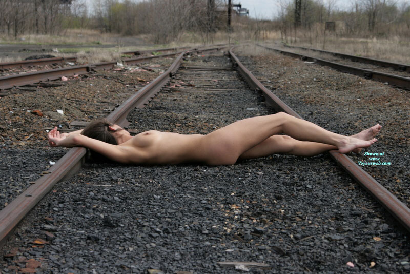 Pic #1 - Reclining Nude On Train Tracks - Erect Nipples, Natural Tits, Nude Amateur , Slender Body, Beauty On The Tracks, Lying On Tracks, Nude Friend, Lying On Train Tracks, Lay Tracks, Girl Asleep On Railroad Tracks