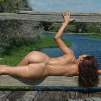 Rail Guard - Brunette Hair, Butt Shot, Full Nude, Nude Outdoors, Side View