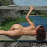 Rail Guard - Brunette Hair, Butt Shot, Full Nude, Nude Outdoors, Side View