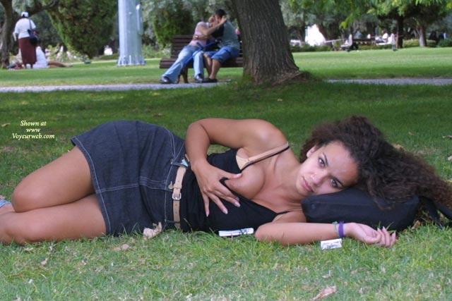 Pic #1 - Short Jeans Skirt - Nude In Public , Short Jeans Skirt, Nude In Public, Nipple Peak, Public Boob Flash, Park