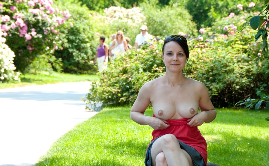 Flashing Tits In Park - Brunette Hair, Dark Hair, Flashing Tits, Flashing, Nude In Public, Perfect Tits, Sunglasses, Topless, Nude Amateur, Topless Wife , Tits In The Park, Looking Into Camera, Smiling, Sitting Topless On Park Bench, Legs Demurely Crossed, Pulic Garden Top Drop