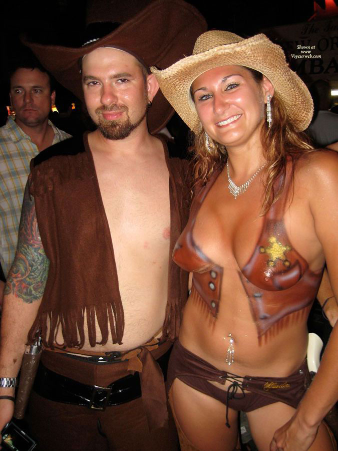 Pic #1 - Fantasy Fest Painted Tits - Topless , Big Smile, Festival Voyeur, Body Paint, Fantasy Fest Topless
